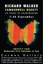 Curwen gallery - Richard Walker: Camberwell Beauty, 40 Years of Printmaking. Sep 7-30