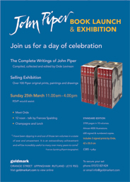 John Piper book launch and exhibition. On Mar 25