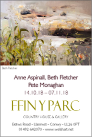 FFIN Y PARC GALLERY, Ffin Y Parc Country House & Gallery, Betws Road, Llanrwst, Conwy LL26 0PT. Anne Aspinall: Harbour and Land, North Wales. Oct 14-Nov 7.